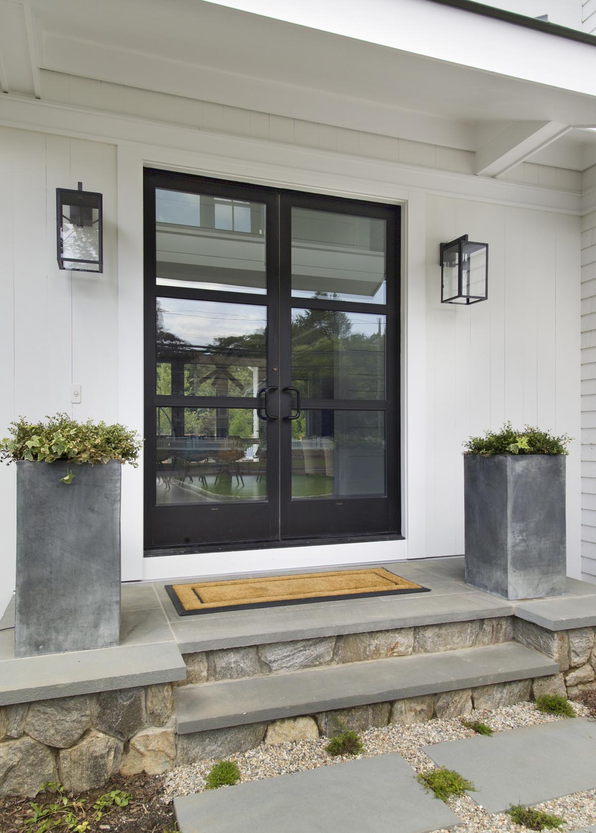 Residential entrance american frameless for Front doors that let in light